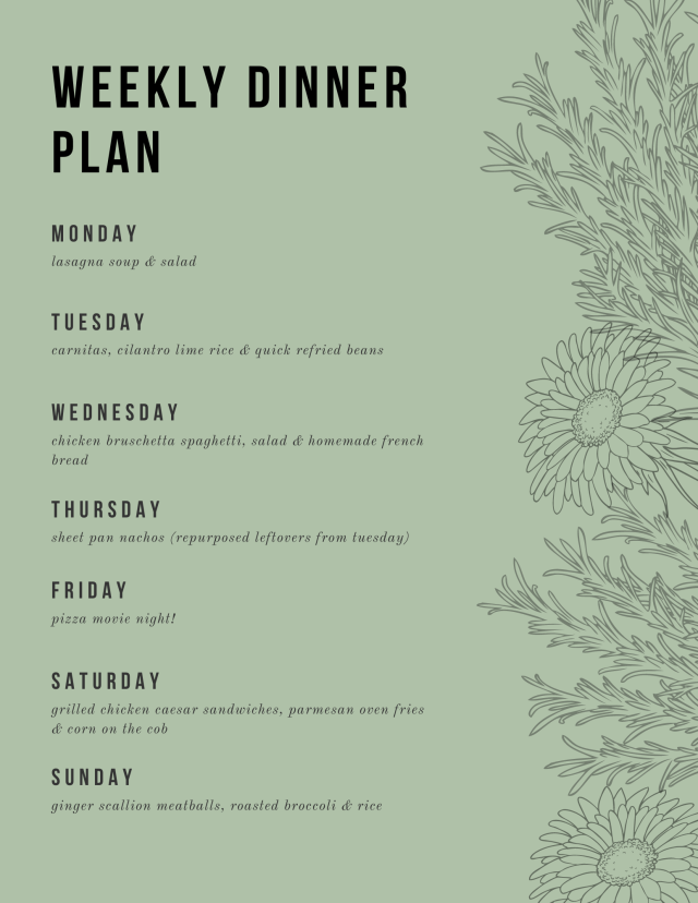 Teal Diagonal Stripes Weekly Menu
